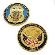 Veterans Affairs Police Special Agent Badge Challenge Coin Gold Plate 3d New
