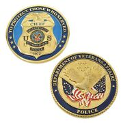 Veterans Affairs Police Chief Badge Challenge Coin Gold Plate 3d Great Quality