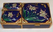 Chinese Floral Cloisonne Blue Enamel Three Sided Match And Humidor Box