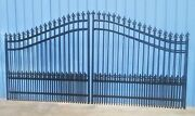 Driveway Gate 14and039 Steel Iron Post Pkg Residential Security Fence Yard Home Lawn