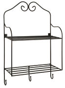 Double Shelf And 3 Hook Rack - Wrought Iron Scroll Wall Mount Organizer Amish Usa
