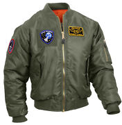 Tactical Sage Green Ma-1 Flight Bomber Jacket Patches Loop Fields Rothco 7240