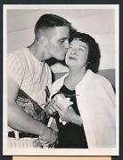 1961 Roger Maris With 60th Home Run Ball And Mrs. Babe Ruth Vintage Photo
