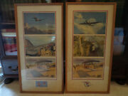 Vintage United Airlines Advertising Lobby Posters 1930andrsquos Dc-3 Cargoliner Framed