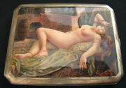 Antique Silver Lying Woman Erotic Art Painting Reproduction Cigarette Case See