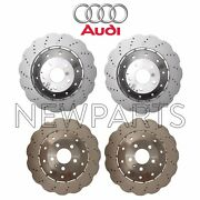 For Audi R8 Front And Rear Vented Drilled Steel Disc Brake Rotors Kit Genuine