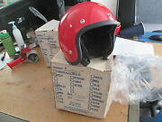 Vintage Rare 1970and039s Red Childs Medium Buco Poly 5 Snap Motorcycle Helmet 1773-2