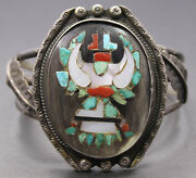 Handmade Zuni Sterling Silver Turquoise Coral Inlay Eagle Warrior Cuff Bangle