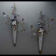 Pair Porcelain Bronze Blue And White Filigree Hanging Parrot Wall Sconces