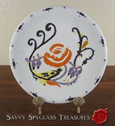 Mid Century? Art Pottery Faience Plate with Rose & Bird from Italy? Signed Pal