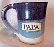 Stegall Studio Art Pottery PAPA Blue White Brown Stoneware Coffee Mug Cup
