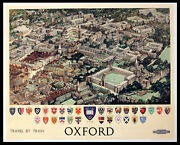 Oxford - Travel By Rail 1951 Fred Taylor - University - Colleges Uk Poster
