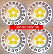 1998-2005 Vw Beetle Bug Wheel Center Caps Set Of 4 With Yellow Daisy Flowers