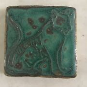 Pewabic Pottery Detroit Art Tile Tiger Green/Blue Glaze 90th Anniversary