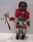 Vintage Native American Doll 12 Tall, Hand Cross Stitched Clothing, Beaded
