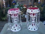 Beautiful Hand Painted Pink And White Mantle Luster 11 1/2and039 Tall