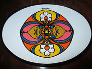 70s PETER MAX VTG MCM SMOKED GLASS COIN CHANGE/CANDY DISH PLATE POT ART PAINTING
