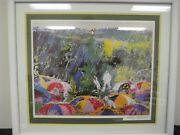 Leroy Neiman Signed Classic Arnie At Augusta Lithograph Wood Framed And Matted