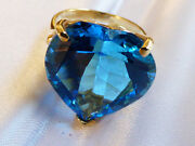 14k Yellow Gold Huge 18x15mm Heart Cut Blue Topaz Cocktail Ring Size 6.5