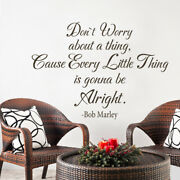 Bob Marley Donand039t Worry Wall Decal Inspiration Saying Vinyl Removable Mural Decor