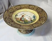 Old Antique Majolica Woman With Umbrella And Girl Cake Plate Cake Stand 20224