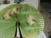 Vintage Chinese Hand Painted Cranes Metal Frame Paper Folding Fan Signed