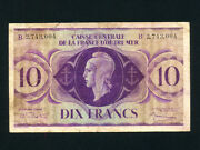 French Equatorial Africap-16e10 Francs1944 Wwii Rare B Plate Type