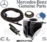 For Mercedes W221 C216 Washer Hose Nozzles And Pump And Reservoir And Caps Covers Kit