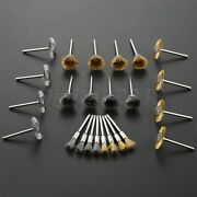 24pcs Polishing Cleaning Deburr Wire Wheel Brushes Grinder Rotary Tool 3mm Shank