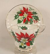 Queen Anne Noel Cup Saucer Poinsettia Holly Bone China England Gold Trim