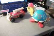 Vintage Lot Of 2 Fisher Price Pieces 1 Pull Toy Turtle And 1 Fire Engine