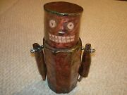 Studio art pottery street pop art robot man container attached arm copper luster