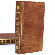 Genuine Vintage Full Leather Case For Apple Iphone 7 Book Wallet Cover Bible Art