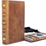 Genuine Vintage Real Leather Case For Apple Iphone 7 Book Wallet Cover Bible Art