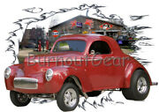 1941 Red Willys Coupe B Custom Hot Rod Garage T-shirt 41 Muscle Car Tees