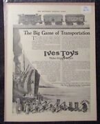 1918 Ives Toys Big Game Of Transportation 11x14 Print Ad Fn 6.0 Toy Trains