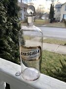 """Pontiled Label Under Glass Apothecary Bottle Andstopper """" Syr.scillae"""" 11"""" Tall"""