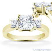 Forever One Def Square Cut Moissanite 3-stone Engagement Ring In 14k Yellow Gold