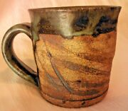 "Studio Art Pottery Coffee Mug Signed with Yin Yang Mark 3.75"" Tall"