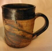 "Studio Art Pottery Coffee Mug Signed with Yin Yang Mark 4.50"" Tall"