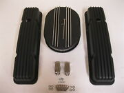 58-86 Chevy Black Aluminum Finned Valve Covers And 12 Air Cleaner Kit Sbc 350