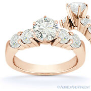Forever One D-e-f Round Cut Moissanite 5-stone Engagement Ring In 14k Rose Gold