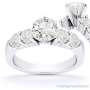 Forever One D-e-f Round Cut Moissanite 5-stone Engagement Ring In 14k White Gold