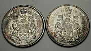 1966 Canada 50c Lot Of 2 Mint State Uncirculated Km 63-free Us Ship-.800 Silver