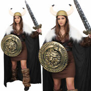 Womens Viking Costume With Gold Accessories Medieval Nordic Warrior Fancy Dress