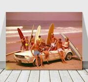 Cool Retro Surfing Canvas Art Print Poster -ford Mustang Beach Surfboards 24x18