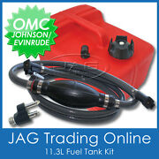 Boat Petrol Tank Kit- Johnson Omc Fuel Line And Fitting And 11.3 Litre Outboard Tank