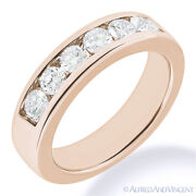 Round Cut Forever One D-e-f Moissanite 14k Rose Gold 7-stone Band Wedding Ring