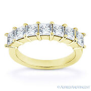 Square Cut Forever One Def Moissanite 14k Yellow Gold 7-stone Band Wedding Ring