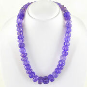 802.50 Cts Natural Purple Amethyst Untreated Round Carved Beads Necklace Rs